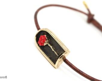 The Little Prince - The Rose in the Case- Leather Bracelet - Leather and Bronze Bracelet- Unisex Bracelet Adjustable art.298