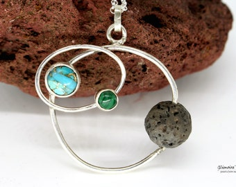 Orbits - Necklace with planets - asteroids - Circle pendant, turquoise, malachite, lava stone #234