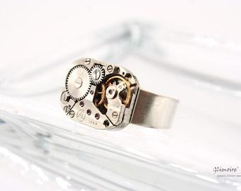Vintage watch mechanism ring in silver 925 (adjustable base) #222