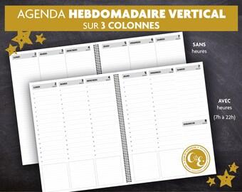 AGENDA HEBDOMADAIRE 3 colonnes   Annuel   Juillet 2018 à juin 2019