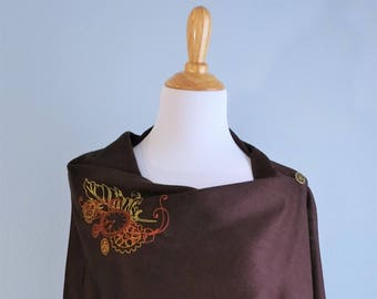 Embroidered Pashmina - Steampunk Designs on Chocolate Brown