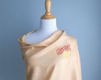 Embroidered Pashmina - Autumn Leaves on Champagne