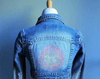 Embroidered Denim Jacket - Mendhika Sun, Upcycled Wearable Art