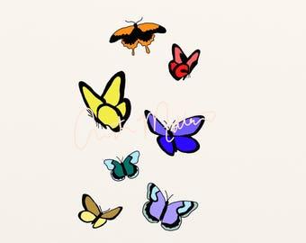 flying butterflies print