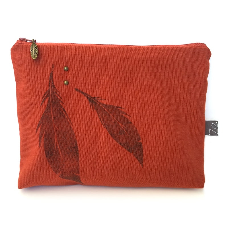 Terracotta feather clutch image 0