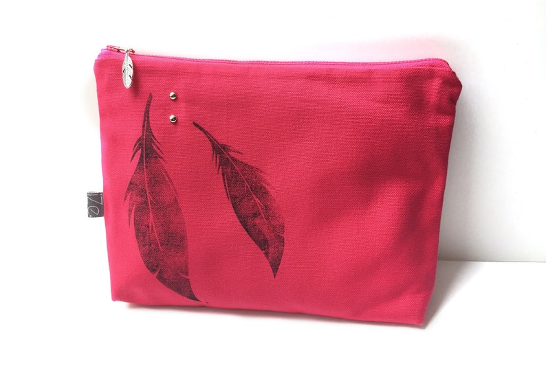 Raspberry feather clutch image 0