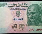 Rare Vintage Crisp Uncirculated India 5 Rupees Ghandi Peace Leader Note World Banknote Currency