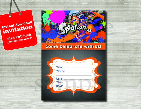 splatoon invitation digital file birthday party invitation etsy