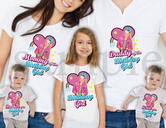Instant DL JoJo Siwa Birthday Iron On Transfer T Shirt Family