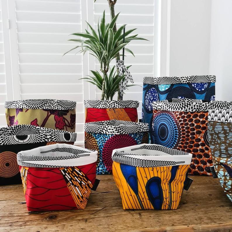 Fabric Storage Baskets African Wax Print Storage Bins Cotton image 0