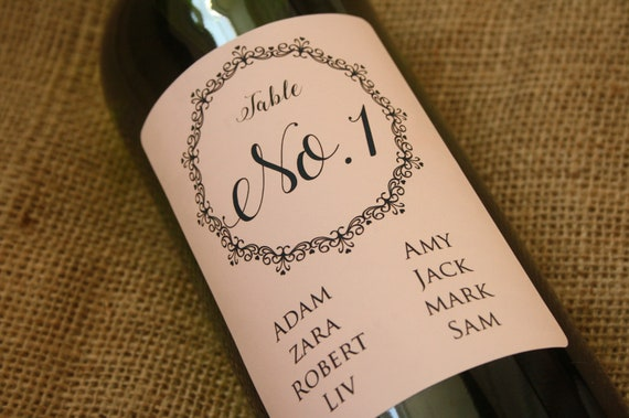 personalised wedding table bottle labels personalised wine etsy