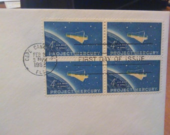 Project Mercury 1962 First Day Issue Envelope / Block of 4 US Stamps / Cape Canveral / 4c U S Man in Space