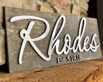Personalized Wooden Family Established Last Name Sign - Custom Personalized Wedding Gifts for Couples Bride Husband and Bridal Shower
