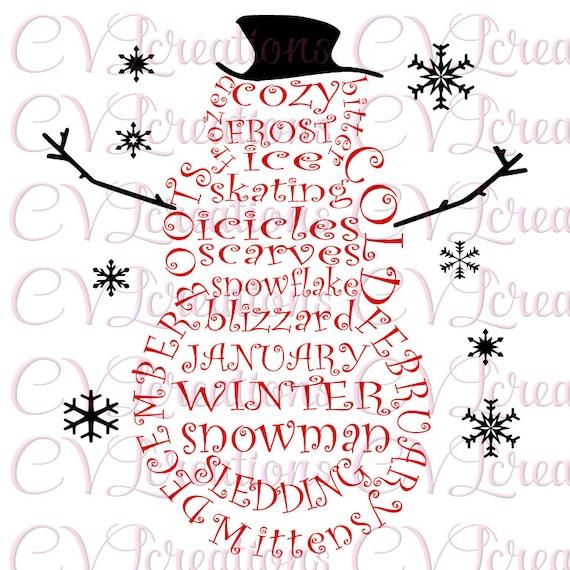 Weihnachten Schneemann Wort Art PNG SVG DXF   Etsy