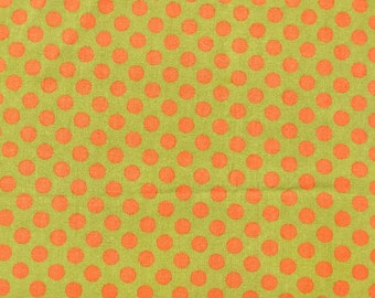 Green and Orange Dot Fabric, Chartreuse Polka Dot Fabric, Fall Quilt Fabric, Autumn Quilting Fabric, Olive Green Cotton Quilt Fabric Remnant