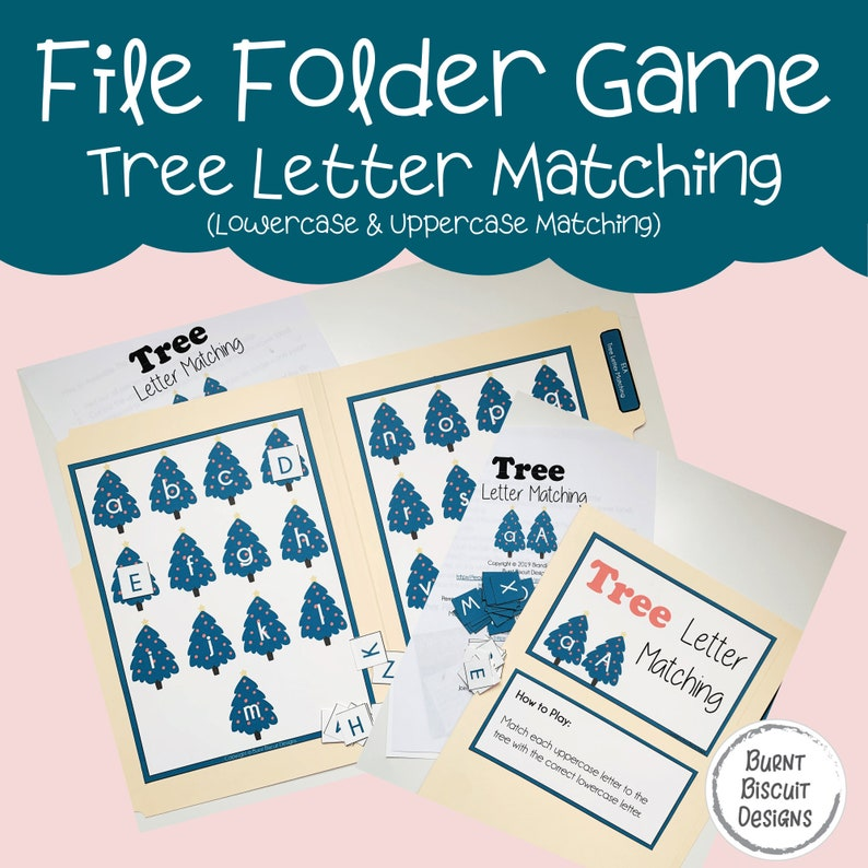 Preschool File Folder Game  Christmas Tree Letter Matching image 0