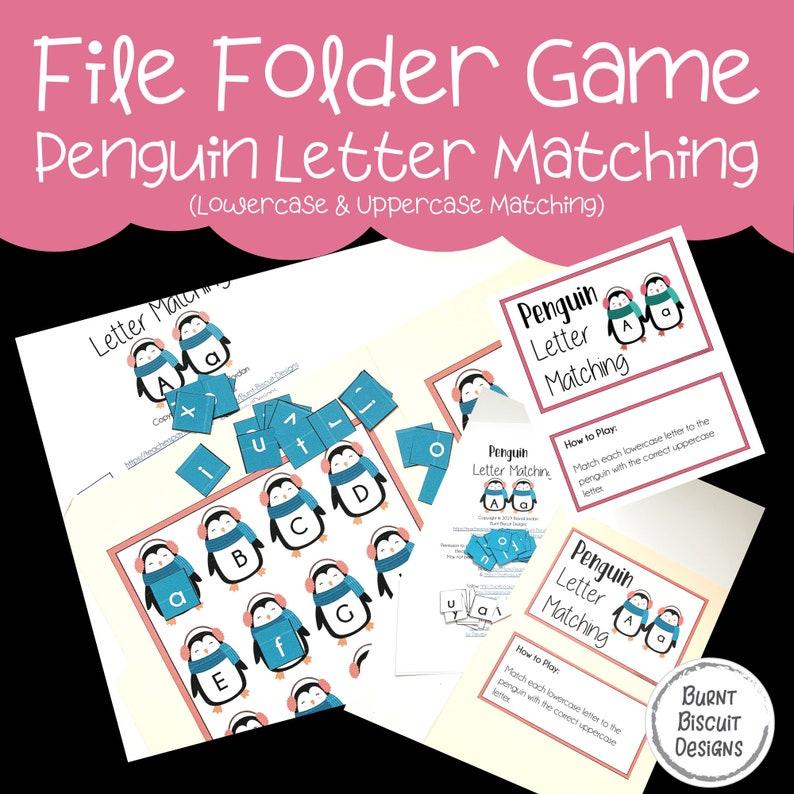 Preschool File Folder Game  Penguin Letter Matching Activity image 0