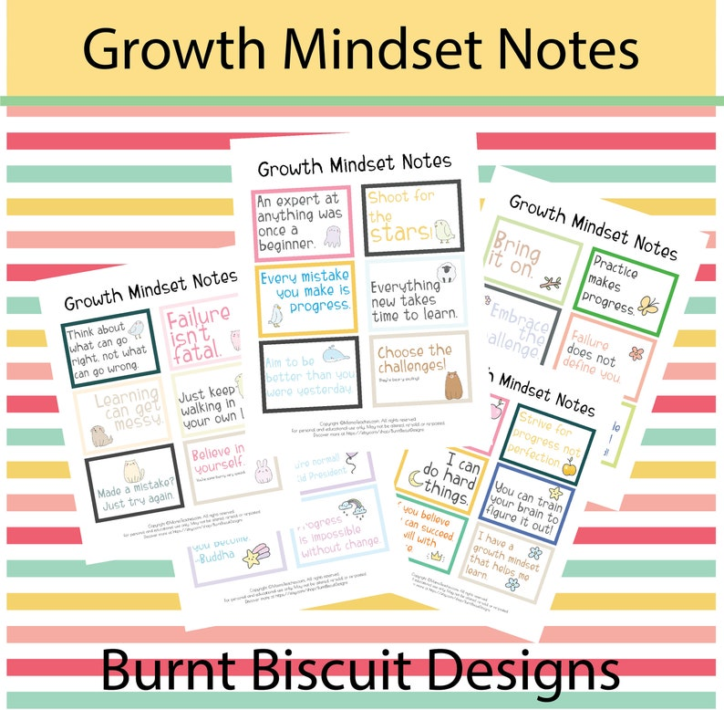 Growth Mindset Printable Notes for the Classroom image 0