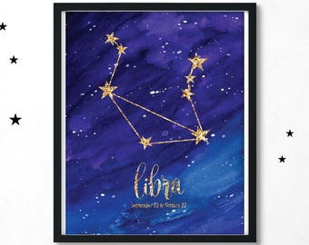 Libra Print, Libra Constellation, Constellation Print, Libra Poster, Libra Wall Art, Libra Gift, Zodiac Print, Birthday Gift