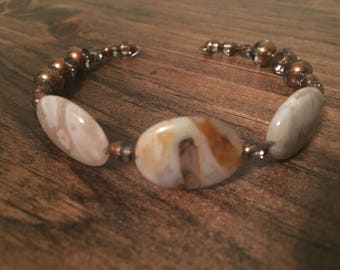 Stone and glass beaded cuff bracelet