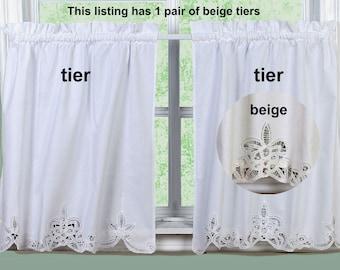 Battenburg Lace Kitchen Curtain 24 L Tiers Ecru Beige 100 Cotton