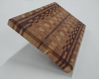 Maple, black walnut & cherry wood chopping block / cutting board