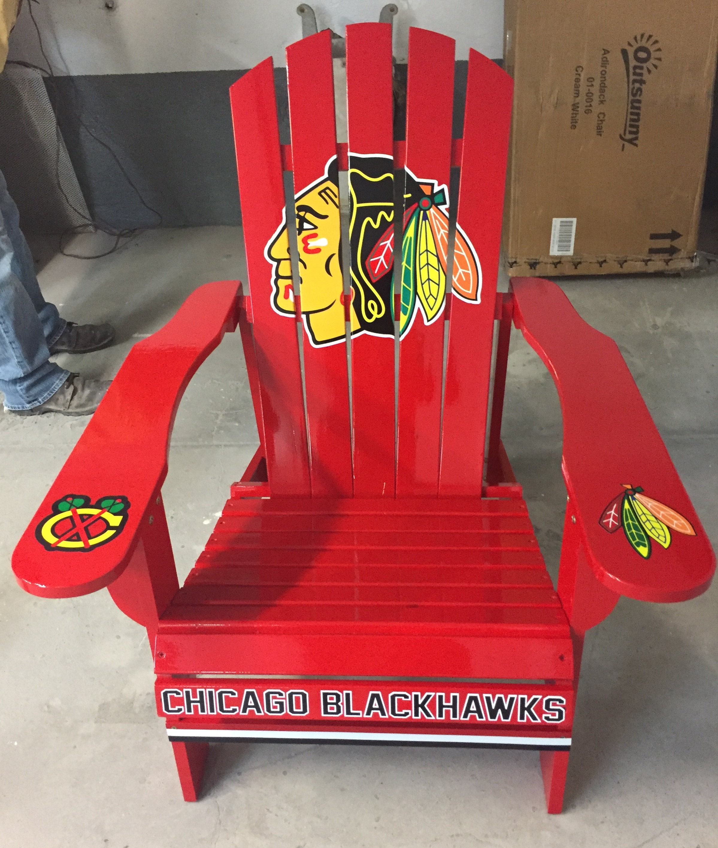 Custom Professional Red Hockey Outdoor Graphic Decal Adirondack Lounge Chair