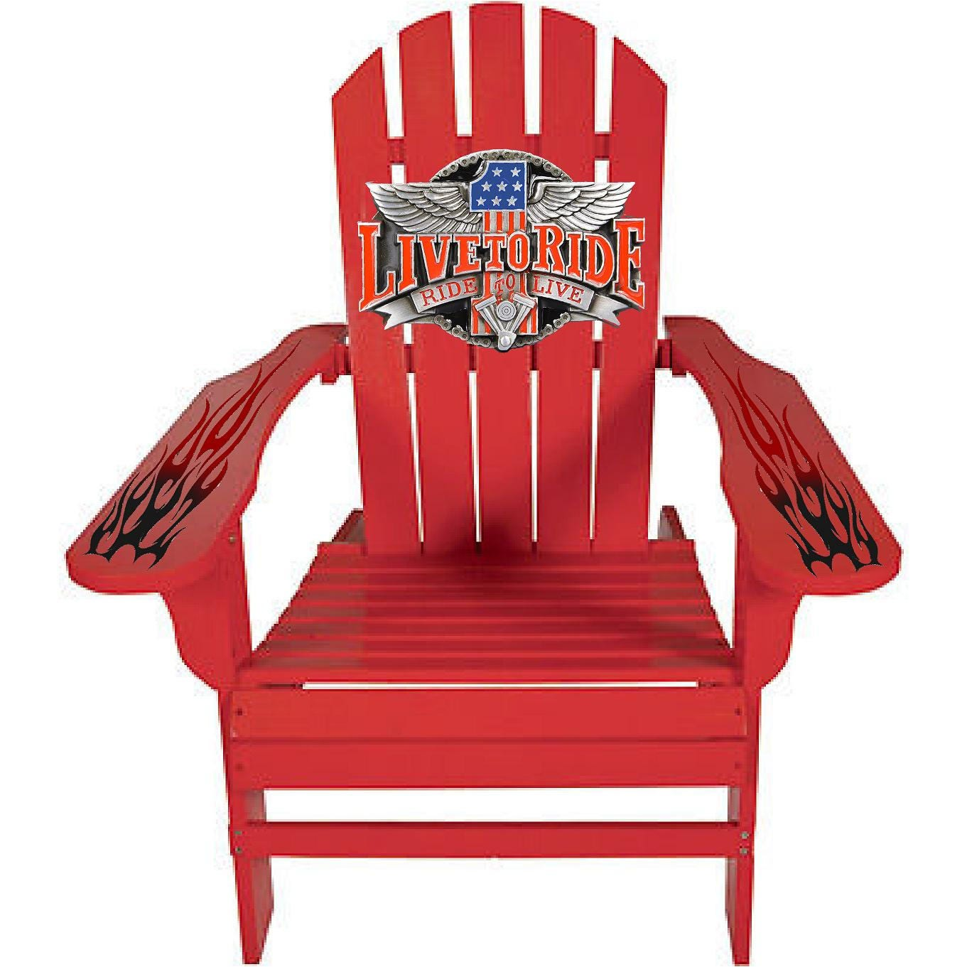 Live To Ride Motorcycle Red Outdoor Graphic Decal Adirondack Lounge Chair