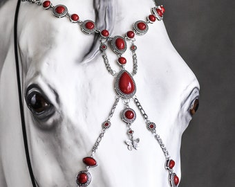 draft with name tag Horse costume beaded and bells Custom size Christmas horse tack Necklace for pony