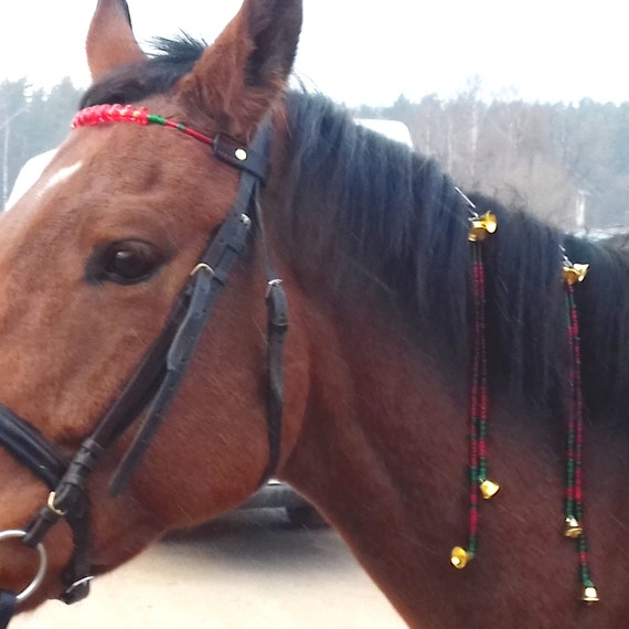 Christmas Horse Tack.Christmas Horse Tack Set Bling Rhythm Beads Bells Pony Costumes Equine Harness Jewelry Browband Mane Clip Charm Bridle Custom Size