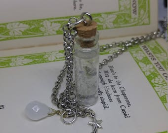 Catch a Falling Star - handmade glass bottle necklace with falling star suspended in glittery resin