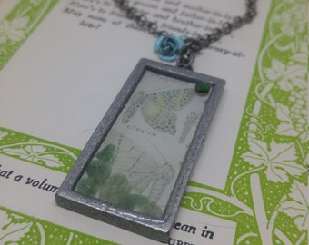 Entomology - handmade resin pendant with butterfly script detail and green malachite stones
