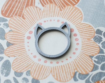 Cat Ear Ring 3D Printed Jewelry Gift (Silver Color) - Free Shipping Promo!