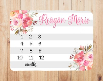 Personalized Baby Month Blanket - milestone blanket, photo prop, girl baby shower gift, personalized with baby's name, watch me grow