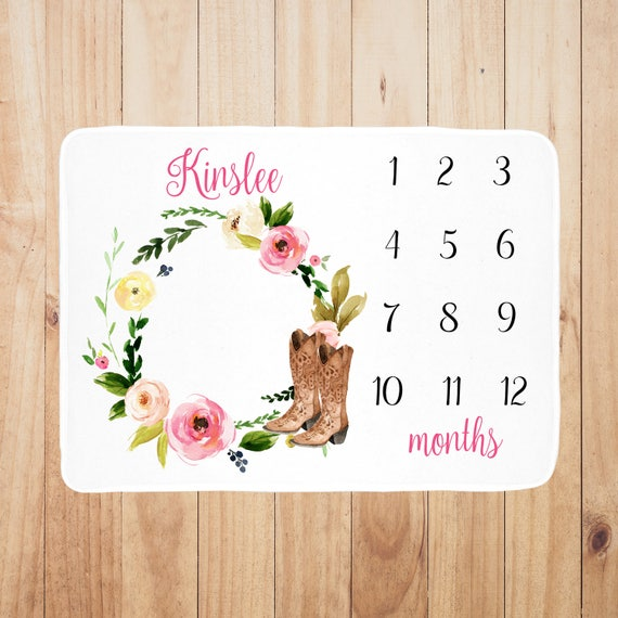 customized with baby/'s name baby girl gift perfect baby shower gift Personalized Baby Month Blanket photo prop Track baby/'s growth