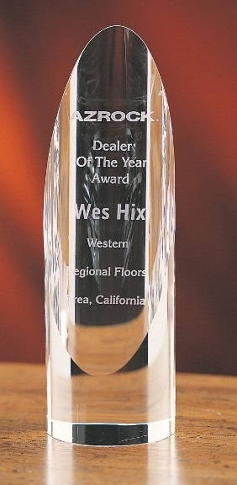 Crystal Cylinder Recognition Award Engraved Personalized