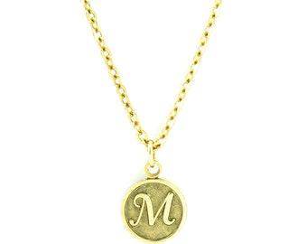 Letter M Necklace   Gold Letter M Necklace   Gold Initial M Necklace   Gold Letter M Pendant Necklace