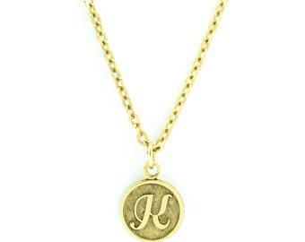 Letter K Necklace   Gold Letter K Necklace   Gold Initial K Necklace   Gold Letter K Pendant Necklace