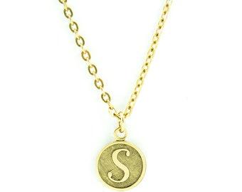 Letter S Necklace   Gold Letter S Necklace   Gold Initial S Necklace   Gold Letter S Pendant Necklace