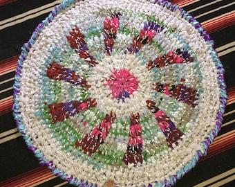 Rays for Days upcycled crochet Round RagRug G.BIV