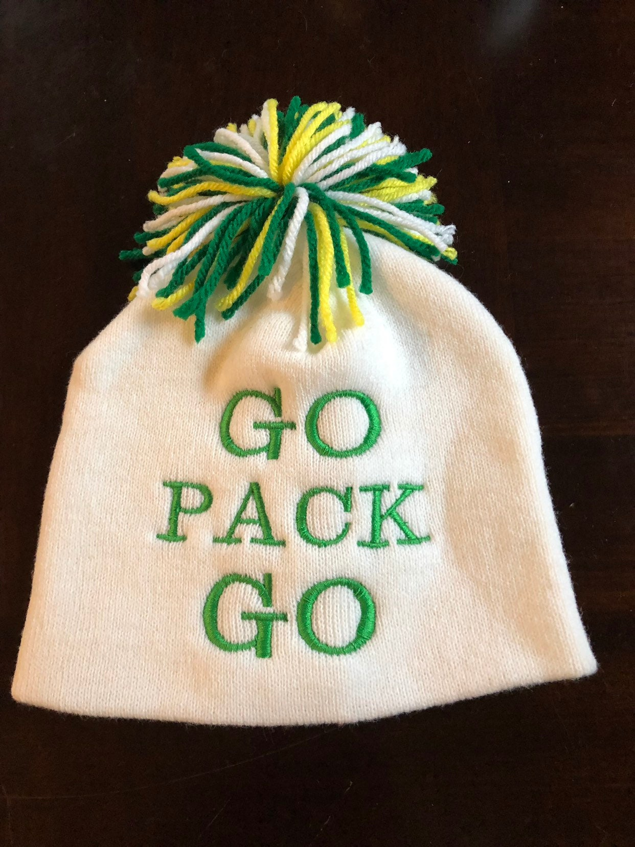 Go Pack Go winter hat Green Bay Packers NFL football aaron  79fdfb63632