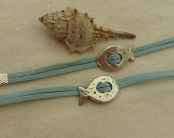 Blue Suede and fish bracelet