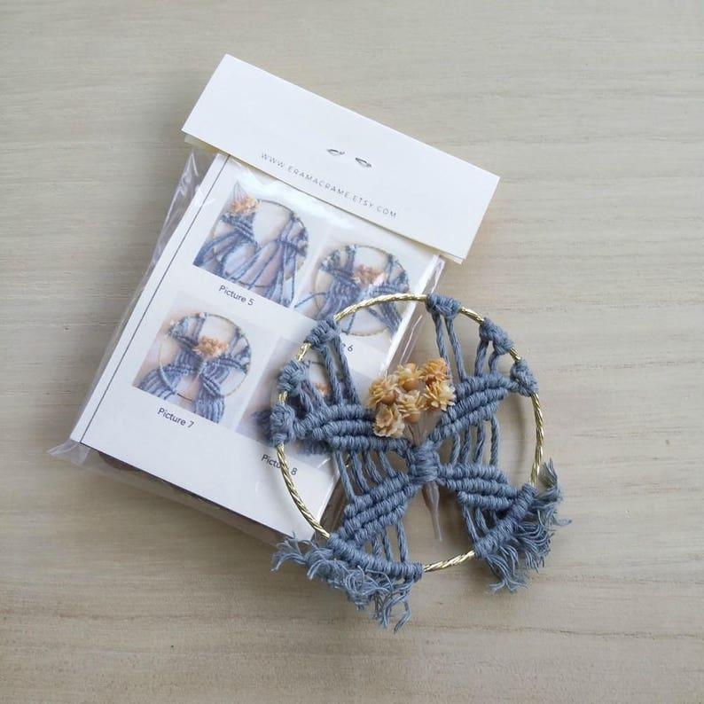 Macrame tutorial kit  Make your own macrame ornament  DIY Macrame pattern  Blue wedding party favor  Small DIY Kit