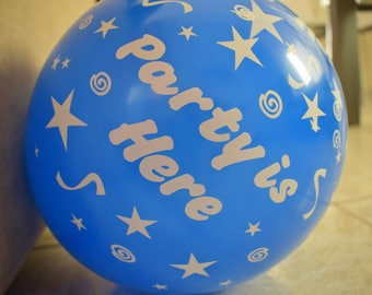 Assorted Color Party Balloons,13 inch Balloons |Party Is Here | Latex Balloons, Party Decorations, 10 pcs