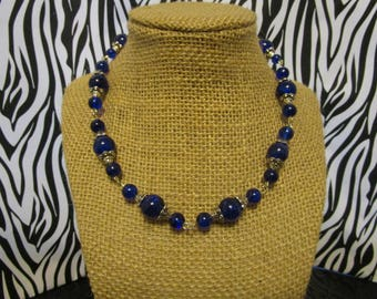 Blue & Silver Glass Beaded Necklace