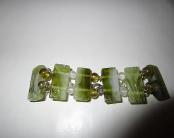 Multi Colored Gree Glass Beaded Bracelet