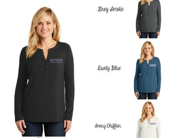 59c86b24e29 DoTerra Compliance Approved Embroidered Ladies DoTerra Concept Henley Tunic