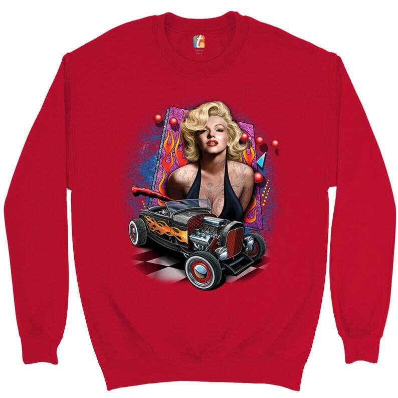 Marilyn Monroe Hot Rod Sweatshirt Vintage Route 66 Drag Racing Crewneck