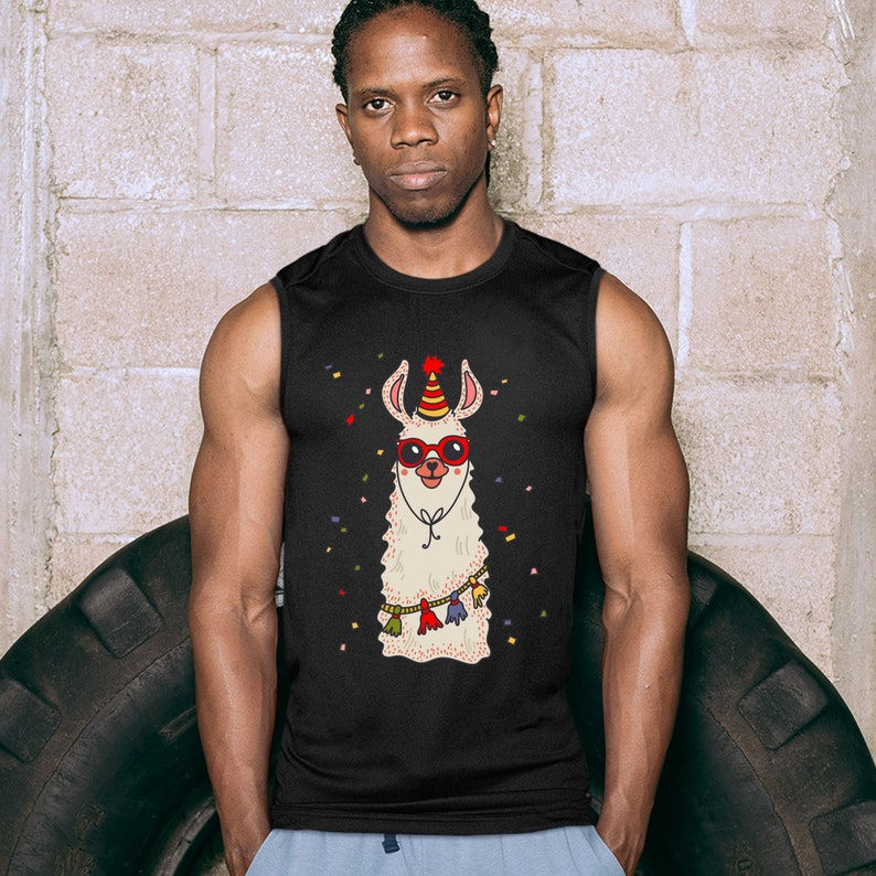 Christmas Llama Muscle Shirt Merry and Bright Let It Snow Funny Xmas Men/'s