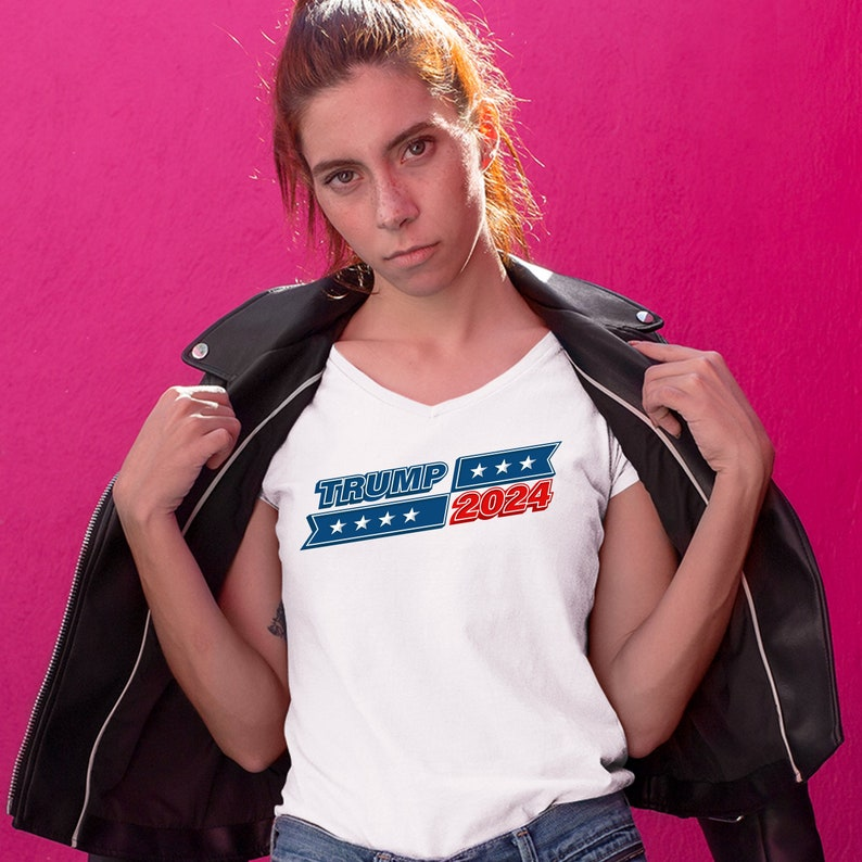 Trump 2024 Women/'s V-Neck T-shirt Re-elect Donald Trump Keep America Great Tee